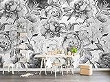 Papier peint mural noir et blanc pivoine fleur salon chambre décor à la maison 200x140CM