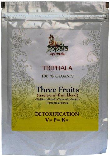 Organic Triphala Powder 500gms (2 x 250gms) Detoxification Three Fruits Amalaki (Emblica Officinalis) Haritaki (Terminalia Chebula) Bibhitaki (Terminalia Belerica) USDA Certified Organic Herbs