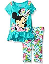 Disney Baby Girls 2 Piece Minnie Top and Flower Printed Legging