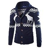 Hommes Tricots Manteau Pull de Noël d'hiver Cardigan Noël Veste Sweat-shirt (Marine, L)