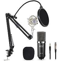 Tonor XRL zu 3.5 mm Kondensator-Mikrofon Kit Schall Podcast Studio Rundfunk & Aufnahme Microphone für Computer mit Popschutz und Verstellbarem Mikrofonhalter Mikrofonarm Mikrofonständer & Mikrofon Sets Schwarz