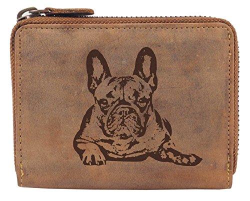 Große Französisch Geldbörse (Greenburry Damen-Geldbbörse mit Motiv Französische Bulldogge Bully-Fans l Geschenkidee für Hundefreunde I Leder)