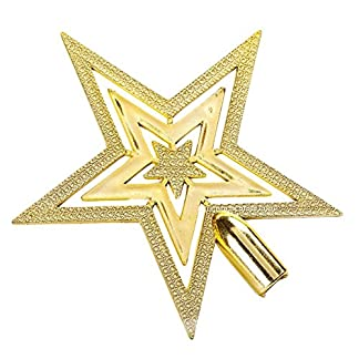 Da.Wa 3D Estrella de Cinco Puntas Árbol de Navidad Decoraciones Regalo de Navidad-Oro 20cm