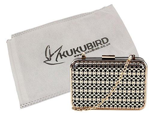 Kukubird Holly geometrico floreale in rilievo partito Prom frizione borsa borsetta con sacchetto raccoglipolvere Kukubird Black
