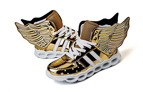 ALSYIQI Unisex Kids Boy's Girl's Shoes LED USB Charge Light Up MD Sole Sneaker W-Gold