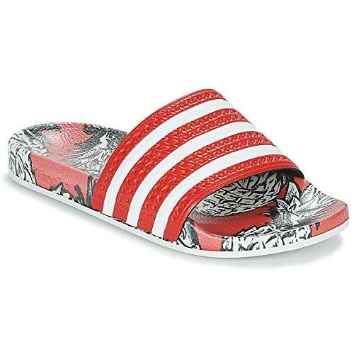 Adidas adilette w scarpe da spiaggia e piscina donna,rosso (scarlet/off white/scarlet scarlet/off white/scarlet), 35 eu