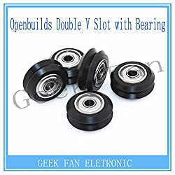 Generic 5pcs For Openbuilds C-beam Printer Parts Double V Slot Plastic Passive Round wheel + 625Bearing Idler Pulley Gear perlin wheel