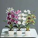Orchideen in Keramiktopf 6er-Set Kunstblumen Kunstpflanzen weiß - rosa - lila - grün mini