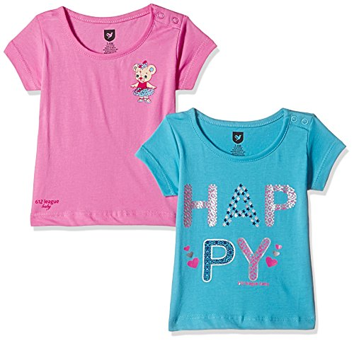 612 League Baby Girls' T-Shirt (Pack of 2) (ILS17I77004-6 - 12 Months-BLUE)