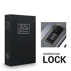 Idea Regalo - ohuhu cassetta blindata con combinazione, a forma di dizionario, portatile, adatta a conservare denaro, gioielli, armi e passaporto (24,1 x 15,5 x 5,6 cm)