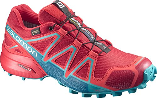 Salomon Speedcross 4 GTX Damen Trailrunning-Schuhe, Rot (Barbados Cherry/Poppy Red/Deep Lagoon), 37 1/3 EU (4.5 UK)
