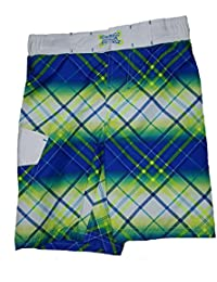1dae5ff25450e Ocean Pacific Boys White w/Blue & Yellow Plaid Swim Short - Medium