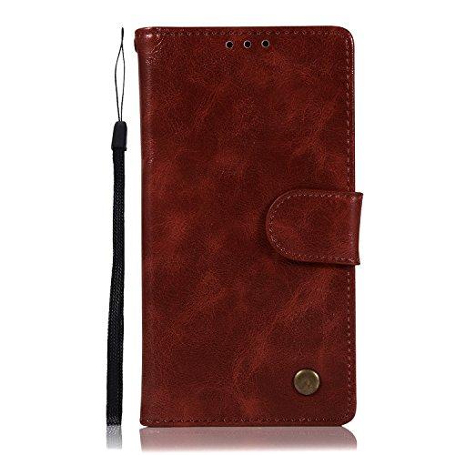 Chreey Motorola Moto E4 Hülle, Premium Handyhülle Tasche Leder Flip Case Brieftasche Etui Schutzhülle Ledertasche, Weinrot