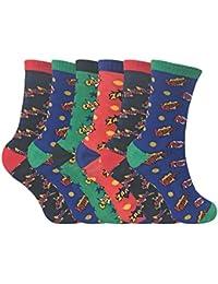 Sock Snob 6 Pares Niños Niño Niña Colores Fantasia Respirable Divertidos Cortos Algodón Calcetines con Diseños para Verano