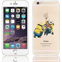 iCHOOSE iPhone 5S Caso / Minions Dibujos Animados Cubierta de Gel para Apple iPhone 5s 5 / Protector de Pantalla y Paño / Empujar Agarrar