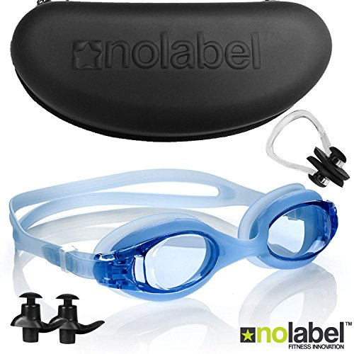 No Label Schwimmbrille | Schwimmbrille Mens Womens | Erwachsene Goggle + Kostenlose Ohrstöpsel & Nasenklammer | Anti-Fog | Keine Label Stealth Brille (Blau)
