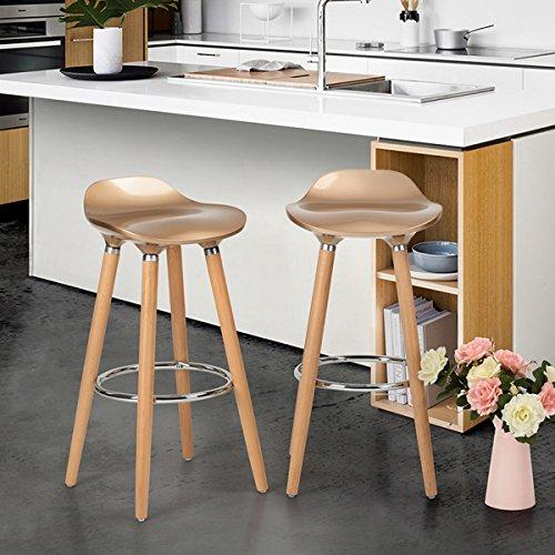 Set von 2 Bar Stühlen Gloden mit Fußstütze Holzrahmen - Jasmin Bar Hocker