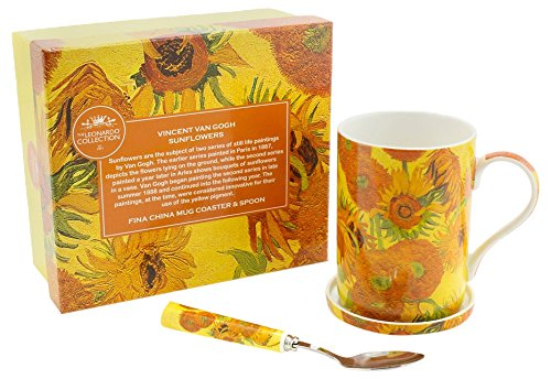 Lesser & Pavey Vincent Van Gogh Tournesol Mug, sous-Verre et cuillère, Jaune/Orange