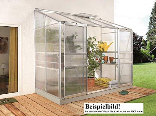 Gartenwelt Riegelsberger Anlehngewächshaus IDA – Ausführung: 5200 HKP 6 mm Alu, Fläche: ca. 5,2 m², mit 1 Dachfenster, Sockelmaß: 1,90 x 2,54 m