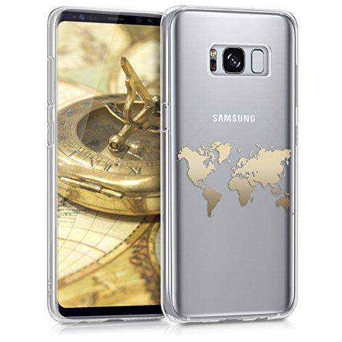 kwmobile Hülle für Samsung Galaxy S8 - TPU Silikon Backcover Case Handy Schutzhülle - Cover klar Weltkarte Umriss Design Gold Transparent
