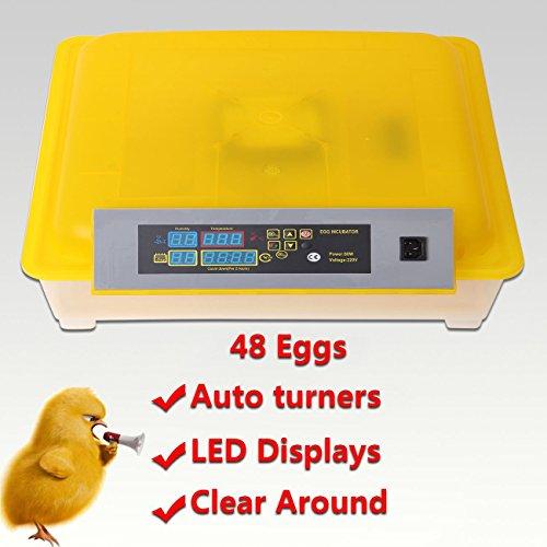 Iglobalbuy Brutmaschine/Inkubator, für 48Eier, Huhn/Ente, automatisch