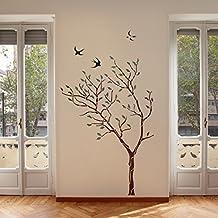 J Boutique Stencils Pochoir Mural Motif Grand Arbre Avec Oiseaux U2013  Réutilisable, ...