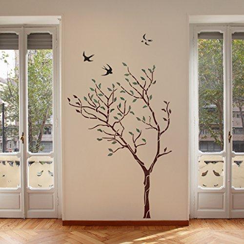 J Boutique Stencils Pochoir mural Motif grand arbre avec oiseaux–Réutilisable, mieux que le papier peint