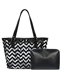 Clear Tote Bags With Full Chevron Prints Pvc Shoulder Handbag With Interior Pocket (Black) By Micom