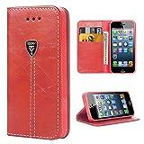 iPhone 5S Hülle , Hochwertig handyhülle iPhone 5 mit klappe tasche handyhuelle schutzhülle Handys Schutz Hülle PU Leder magnet handytasche bookstyle Flip Case für Apple iPhone 5 5S SE mit Ständer - Rot
