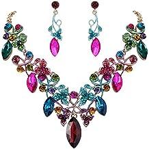 044aabf67274 Clearine Mujer Bohemio Cristal Flor Viene Foliáceo Collar de Plastron  Dangle Pendiente Elegante Conjunto Regalo Navidad