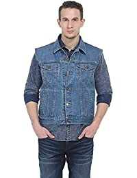 BASICS Slim Fit Blue Infinity Denim Sleeveless Jacket