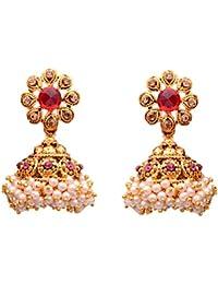 Sitashi Gold Plated Pearl Jhumki Earrings For Women