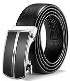 ITIEZY Herren Gürtel Ratsche Automatik Gürtel für Männer 35mm Breit Ledergürtel, Schwarz 106, Länge: Bis zu 49,21 Inches (125cm)