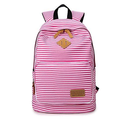 Imagen de minetom tela tejida lona backpack  escolares  escolar casual bolsa viaje moda mujer colorido rayas rosado one size 29*17*45 cm