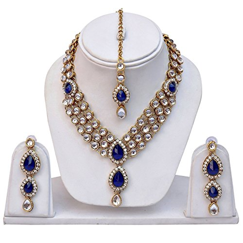Shining Diva Kundan Traditional Necklace Jewellery Set with Earrings for Women (Blue)...