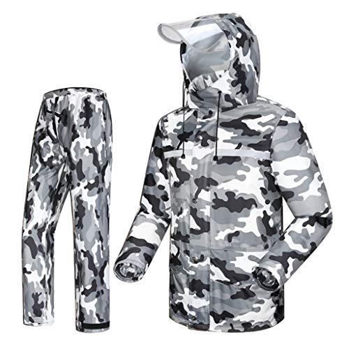 WSCS Herren Regenmantel Anzug (Regenjacke und Regenhose Set) Regenfest Winddicht Mit Kapuze Outdoor Arbeit Motorrad Golf Angeln Wandern Jagd (Size : XXXL)