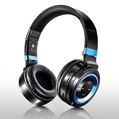 Oreillette Bluetooth, etzone Bluetooth 4.1Casque stéréo avec microphone, pliable et portable sur boucles d'de Musique Basse Casque audio pour iPhone/Samsung/PC/ordinateur portable/tablette/TV (Black & Blue)