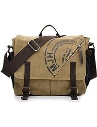 KIPTOP Mens Vintage Canvas Shoulder Military Messenger Bag