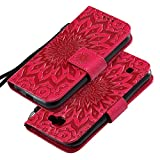 EINFFHO LG K3 LTE Hülle, LG K3 LTE Lederhülle, Retro Linderung Blume PU Leder Hülle Ledertasche Brieftasche Handyhülle Schutzhülle Tasche Silikon Klapphülle für LG K3 LTE, Rot