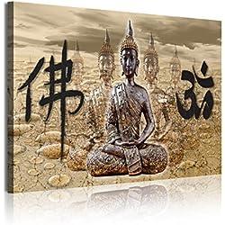 DekoArte 323 - Cuadro moderno en lienzo 1 pieza zen buda feng shui con letras chinas, 120x3x80cm