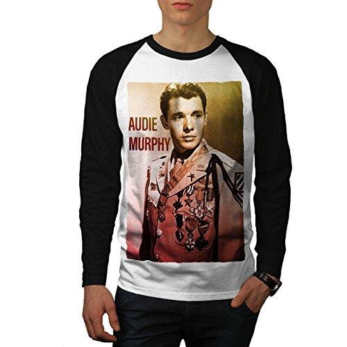 audie-murphy-usa-beruhmt-herren-neu-weiss-schwarz-armel-m-baseball-lange-armel-t-shirt-wellcoda