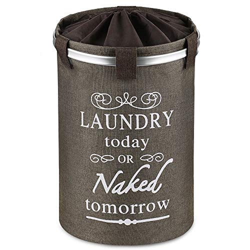 Ecooe Wäschekorb Faltbare 60 Liter Wäschesammler Groß Runder Wäschebox Baumwolle Leinen Wäschesack Wäschetonne Wäschebehälter Korb Organizer Laundry Baskets in Braun