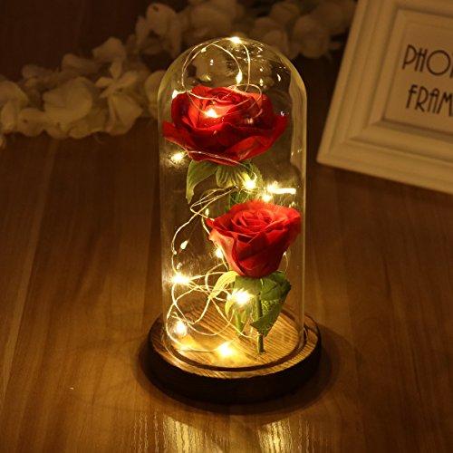 LEDMOMO Rose rouge de soie et lumière de LED avec des pétales tombés dans un dôme de verre sur une base en bois Cadeau pour le mariage d'anniversaire d'anniversaire de la Saint-Valentin (deux roses)