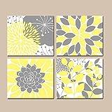 canvas print Leinwandbild Gelb Grau Wand Kunst auf Leinwand Oder Druck Floral Schlafzimmer Bilder Gelb Grau Badezimmer Decor Sukkulente Küche Wandtattoo Art Set of 4Home Decor