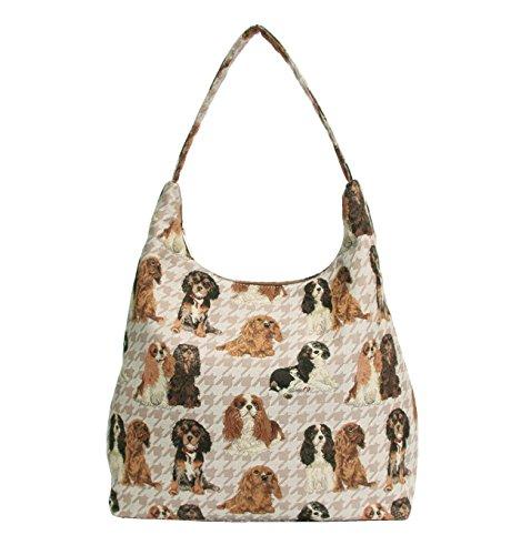 Signare besace sac d'épaule tapisserie mode femme Cavalier King Charles Spaniel