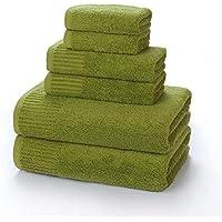 PWTY 3 Unids / 1 Set 100% Algodón Toalla De Baño para Adultos Hotel Baño Centro Salón De Belleza Toalla De Baño Toalla Cuadrada Toalla De Baño Absorbente, Verde, 3 Tamaños