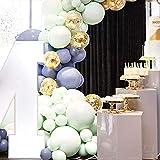 PuTwo Mint Grau Luftballons 41 Stück Mint Luftballons Grau Luftballons Gold Konfetti Luftballons, 6 Riesen Luftballons Inklusive, Luftballons für Baby Shower, Hochzeit Deko, Taufdeko, Deko Geburtstag