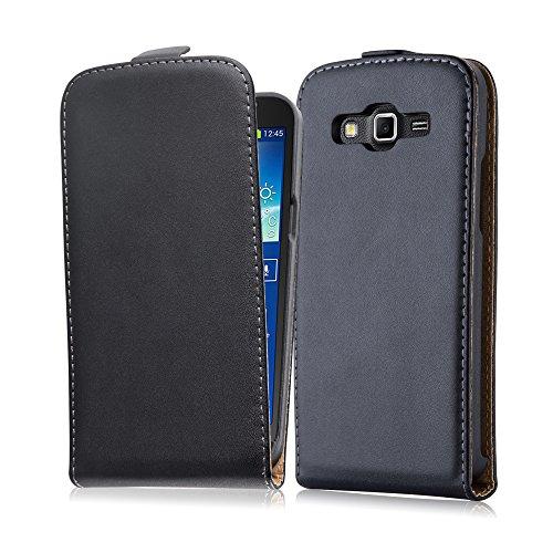 Cadorabo Hülle kompatibel mit Samsung Galaxy Grand 2 Hülle in KAVIAR SCHWARZ Handyhülle aus glattem Kunstleder im Flip Case Cover Schutzhülle Etui Tasche