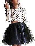 NNJXD Mädchen Polka Getupft Plissee Mehrlagige Rüschen Party Kleider Größe(110) 2-3 Jahre Weiß