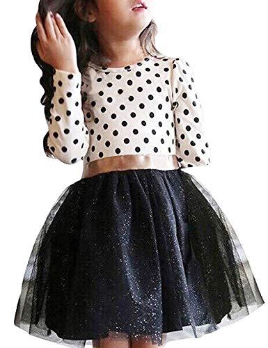 NNJXD Mädchen Polka Getupft Plissee Mehrlagige Rüschen Party Kleider Größe(100) 1-2 Jahre Weiß